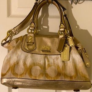 Coach Gold Poppy Ombré Optic Art Satchel